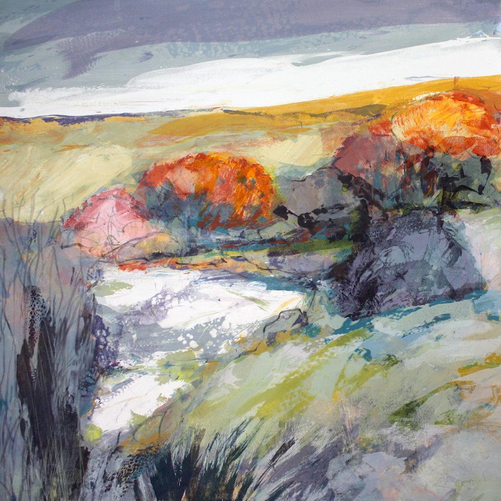 Quiet Pool Silkscreen Painting Gail Mason